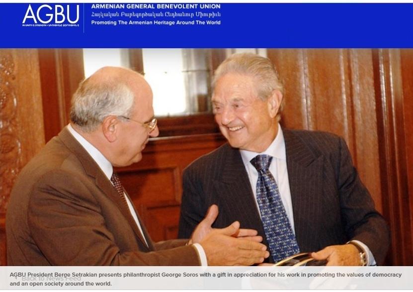 ՀԲԸՄ-ի նախագահ Պերճ Սեդրակեան  կը պարգեւատրէ Ջորջ Սորոսը «աշխարհի մէջ ժողովրդավարութեան ու բաց հասարակութեան արժէքներու արմատակալման» գործին մէջ անոր մեծ ներդրումին համար  Մէնհէթըն, Սեպտեմբեր 19, 2007